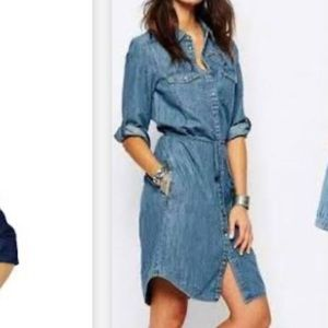 Bottom front jeans dress with belt 16w